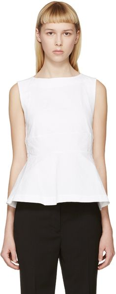 Marni - White Linen Puplum Tank Top