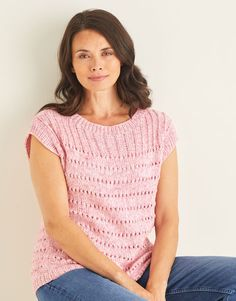 Index - Country Yarns Crochet Short Sleeve Tops, Crochet Top, Bleached Denim, Eyelet Lace, Top Pattern, Summer Wardrobe, Pink Tops, T Shirts For Women, Knitting