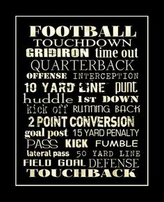FOOTBALL Sports Typography Art Print 11x14 by PaperBleu on Etsy, Football, Quotes, Sayings, Word Art