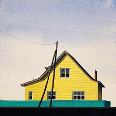 Christopher Burk, Yellow House - Rural Russia – Enormous Tiny Art American Realism, Yellow Houses, Contemporary Artists, Russia, Original Art, The Originals, House Styles, Frame, Home Decor