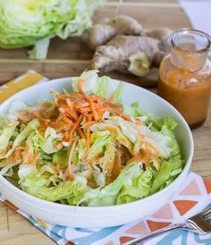 This Ginger Salad dressing is very similar to the dressing you're served at your favorite Japanese Steakhouse. It's tangy and a little bit sweet.