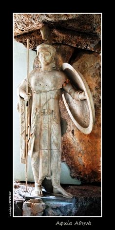 Athena, central figure (W-I) of the west pediment of the Temple of Aphaia, ca. 505–500 BC.