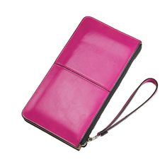 Women Famous Brand Oil Wax Leather Zipper Clutch Wallet,Female Candy Color Burglar Robbed Purse,Lady Multi-function Phone Wallet
