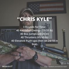 """Chris Kyle"" WOD - ""Chris Kyle"" WOD ""Chris Kyle"" WOD – 3 Rounds for Time: 40 Kettlebell Swings lb); 40 Box Jumps in); 40 Elevated Push-ups (feet on in box) Kettlebell Training, Kettlebell Swings, Kettlebell Cardio, Kettlebell Benefits, Kettlebell Challenge, Tabata, Fitness Workouts, Wod Workout, Murph Workout"
