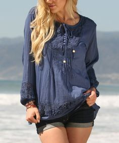 Look what I found on #zulily! Ananda's Collection Denim Blue Lace-Inset Peasant Tunic by Ananda's Collection #zulilyfinds