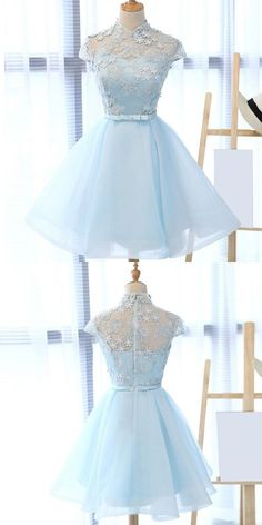 High neck short homecoming dresses, blue short prom dress with appliques, cap sleeves short party dress - Prom Dresses Design Prom Dress Black, 2 Piece Homecoming Dresses, Cute Prom Dresses, Prom Dresses With Sleeves, Pretty Dresses, Beautiful Dresses, Dress Long, Dress Prom, Tulle Dress