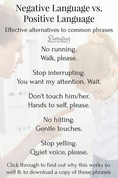 Negative language impacts our children. Find more effective positive parenting alternatives to these phrases. These positive parenting strategies are perfect for parenting toddlers, preschoolers and older kids. Parenting Toddlers, Parenting Styles, Parenting Books, Parenting Quotes, Parenting Advice, Parenting Classes, Positive Parenting Solutions, Autism Parenting, Step Parenting