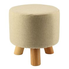 Modern Luxury Upholstered Footstool Round Pouffe Stool   Wooden Leg Pattern:Round Fabric:Grey(3 Legs)