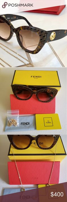 ce306ffca8b1 Fendi Havana Sunglasses This is a Brand New Authentic Fendi sunglasses with  square acetate cat-