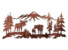 "57"" Moose Family in the Pines Metal Wall Art"