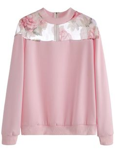 To find out about the Pink Florals Mesh Insert Zipper Sweatshirt at SHEIN, part of our latest Sweatshirts ready to shop online today! Pink Long Sleeve Tops, Long Sleeve Crop Top, Long Sleeve Shirts, Sweat Shirt, Floral Tops, Fashion Outfits, Sweaters, Clothes, Pink Shirts