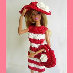 Handmade barbie doll outfit red white dress hat by KikamoraCrafts, $13.99