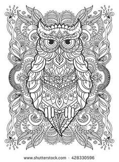 Mijn wonderlijk wereld owl zentangle coloring pages colouring beautiful illustration owl for design print clothing stickers tattoos adult coloring book bohemian owl lace buy this vector on shutterstock find fandeluxe Image collections