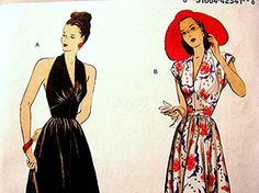 RETRO 1940s Halter Dress Pattern Misses by PatternsFromThePast