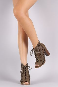 a4614281726 Delicious Geo Cutout Lace-Up Chunky Heeled Booties