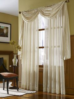 Leno Stripe Sheer Scarf Swag Window Topper And Curtains In Cream Color   Sheers With A Two Tone Stripe Pattern