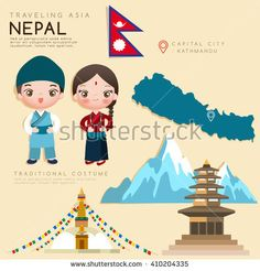 Nepal : Infographic with Traditional Costume and Tourist Attractions : Vector Illustration EPS10