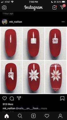 Red Christmas Nails, Holiday Nail Art, Xmas Nails, Winter Nail Art, Christmas Nail Art, Winter Nails, Nail Art Designs Videos, Nail Art Videos, Coffin Nails