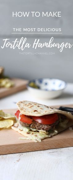 The best ground beef and oval tortilla bread makes the best tortilla burger. Want to learn how you can make the best tortilla burger. Pin it now so you can use it later and visit the website! #tortilla #hamburger #homemaderecipes #tortillaburger