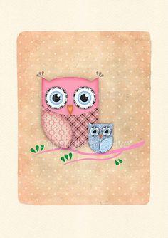 Cute Owl nursery art print Kids room wall art by InkFivePrints, $16.00
