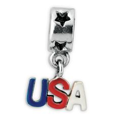 Reflection Beads: Sterling Silver Enameled USA Dangle Bead