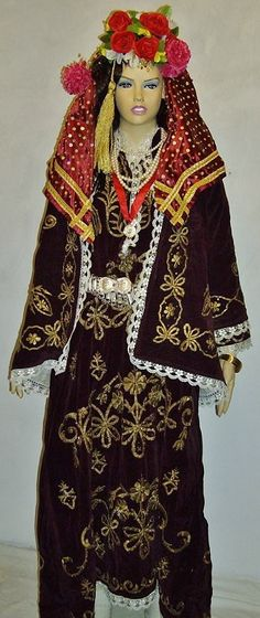 A traditional bridal costume from Bodrum. Late-Ottoman style, ca. The şalvar (baggy trousers), the 'entari' (long robe) and the 'cepken' (vest) are made of (golden metallic thread) embroidered velvet. Action Pose Reference, Action Poses, Folk Costume, Costumes, Henna Night, Baggy Trousers, Metallic Thread, Traditional Outfits, Kaftan