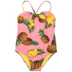 Dolce & Gabbana Kids-girls Pineapple Print Lycra One-piece Swimsuit (355 AUD) ❤ liked on Polyvore featuring pink