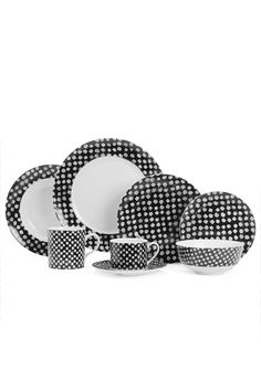 White Dots by Kelly Wearstler.  Great Mix n Match set.