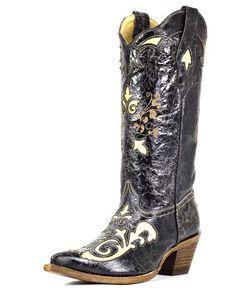Women's Bone Vintage Lizard Overlay Boot - C2116