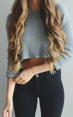 crop sweater + skinny jeans