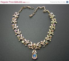 Coro Rhinestone Necklace Teardrop Aurora Borealis by VogueVille, $29.75
