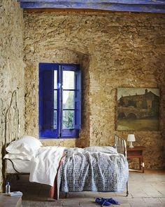 rustic bedroom / blue window frame | 79 Ideas