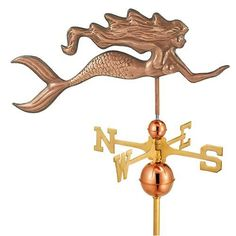Polished Copper Mermaid Weathervane via The Beach Look. Click on the image to see more!