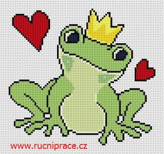 Frog, free cross stitch patterns and charts - www.free-cross-stitch.rucniprace.cz