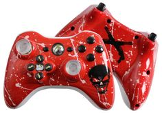 Glossy Red Custom Xbox 360 Controller with Slayer Icons #etsy #xbox360 #customcontroller #moddedcontroller #360controller #evilcontrollers