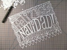Papel Picado by Erik Marinovich Mexico Christmas, Christmas Dance, Merry Christmas, Laser Cut Paper, Typography, Lettering, Paper Hearts, Paper Cutting, Design Art