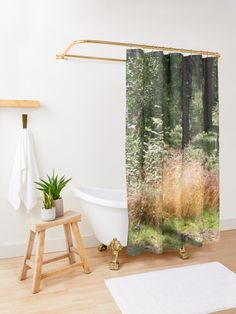 'Golden Meadow, Abstract Floral Pattern, Fiber Art, Wool Painting' Shower Curtain by clipsocallipso Surf House, Cristal Art, Marble Showers, Surfer, White Snowflake, Bathroom Interior, Land Scape, Modern, Hawaii