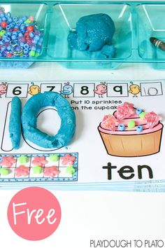 Free Number Playdough Mats. Number activity and fine motor practice in one.
