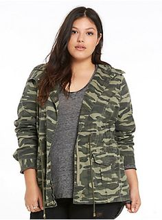 """The camo print on this utility jacket tries to keep it incognito, but the figure-flattering details get you noticed in your rank. The zip front is sleek with a foldover snap button closure, the snap utility pockets are ideal for essentials, and the waist cinches can be adjusted if you want to show off.<div><br></div><div><b>Model is 5'8"""", size 1<br></b><div><ul><li style=""""list-style-position: inside !important; list-style-type: disc !important"""">Size 1 measures 32"""" from shoulder</..."""