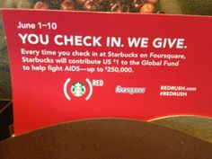 #Starbucks activates #GlobalFund partnership with #FourSquare check ins