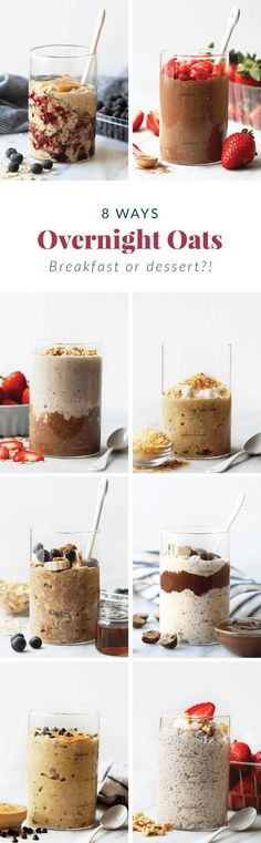 How to Make Overnight Oats (+ 8 flavors!) - Fit Foodie Finds Healthy Oatmeal Recipes, Healthy Breakfast Options, Oats Recipes, Healthy Breakfasts, Healthy Brunch, Nutritious Breakfast, Freezer Recipes, Freezer Cooking, Healthy Options