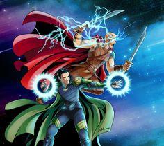 Thor and Loki: Ragnarok-battle by StudioKawaii