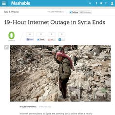 http://mashable.com/2013/05/08/syria-internet-restored/ 19-Hour Internet Outage in Syria Ends | #Indiegogo #fundraising http://igg.me/at/tn5/
