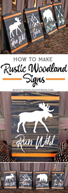 How to Make Rustic Woodland Signs DIY Wood Signs Rustic Signs Woodland Rustic Wall Decor, Rustic Signs, Wooden Decor, Fonts Rustic, Diy Wooden Sign, Family Wooden Signs, Wooden Signs For Sale, Country Wood Signs, Vintage Wood Signs