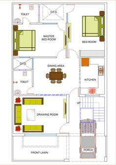 40x60 House Plans, 1200sq Ft House Plans, 2bhk House Plan, Free House Plans, Model House Plan, House Layout Plans, Family House Plans, House Layouts, Plan Duplex