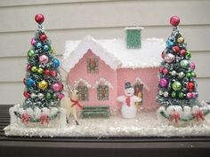 Vintage Putz style house in pink 2 decorated Trees by vintholidays, $45.00