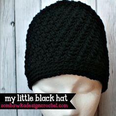 My Little Black Hat, free crochet pattern, sized from preemie through adult by Oombawka Design Crochet