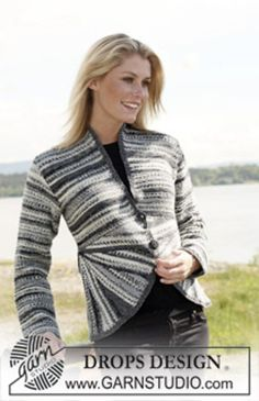 """Pattern Free Ravelry: 108-1 jacket in garter st with curved front pieces in """"Fabel"""" pattern by DROPS design"""