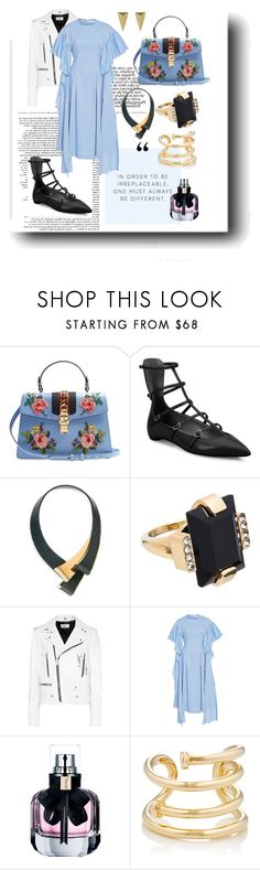 """""""Blue dream"""" by soulchicjourneyatelier ❤ liked on Polyvore featuring Gucci, Christian Louboutin, Marni, Yves Saint Laurent, Rejina Pyo, Jennifer Fisher and Alexis Bittar"""