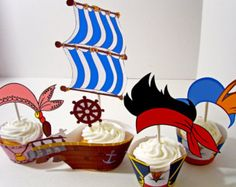Instant Download- Printable Party DIY-Jake and the Neverland Pirates inspired Cupcake Toppers and Wrappers